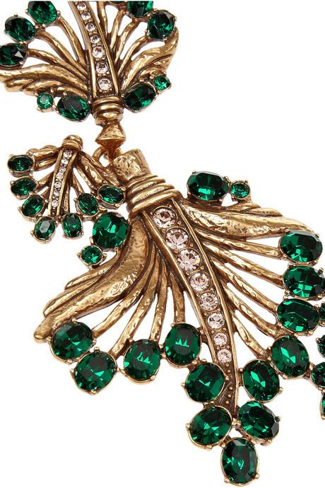 Oscar de la Renta Gold-plated crystal leaf necklace