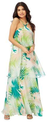 Butterfly by Matthew Williamson Butterfly - Matthew Williamson Multi-Coloured Palm Leaf Print Maxi Dress