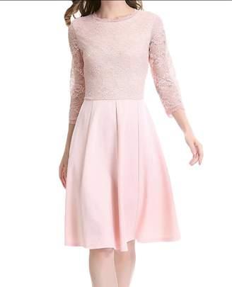 CRYYU Women's 3/4 Sleeve Crewneck Lace Hollow Party A-line Dress US XL