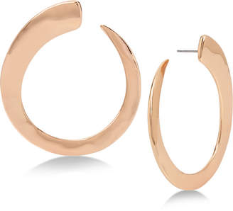 Robert Lee Morris Soho Rose Gold-Tone Hammered Hoop Earrings