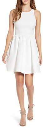 Soprano Bow Back Textured Skater Dress $58 thestylecure.com