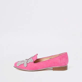 River Island Pink floral rhinestone embellished loafers