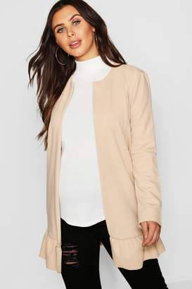 boohoo Maternity Smart Frill Hem Duster Jacket