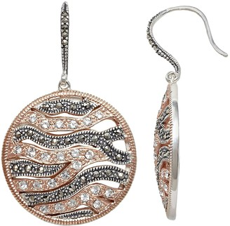 Lavish By Tjm Lavish by TJM Two Tone 18k Rose Gold Over Silver Crystal Wavy Disc Drop Earrings