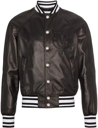 Givenchy logo leather bomber jacket