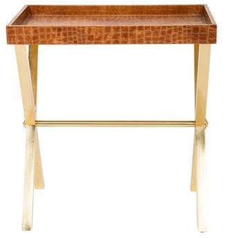 Ralph Lauren Embossed Leather Side Table