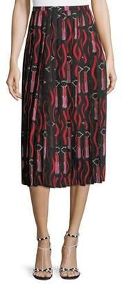 Valentino Zandra Lipstick Waved Crepe de Chine A-Line Midi Skirt