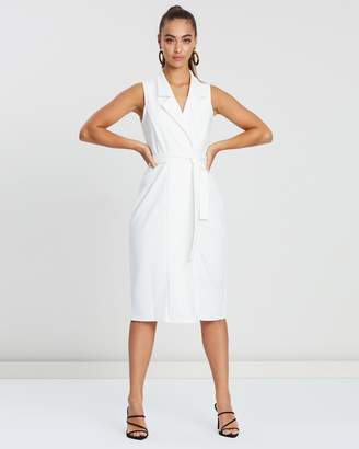 Missguided Sleeveless Belted Midi Blazer Dress