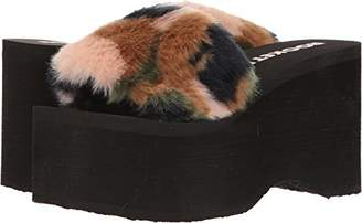 Rocket Dog Women's Boom Trench Faux Fur Fabric Wedge Sandal
