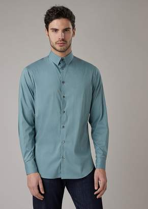 Giorgio Armani Regular-Fit Stretch Cotton Shirt With Small-Point Collar