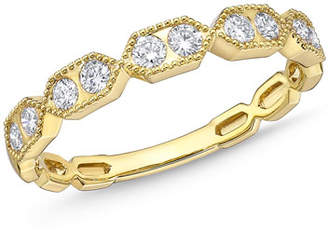 Memoire Stack 'Em Up Hexagon Diamond Duo Stacking Ring in 18k Gold, Size 6.5