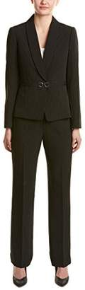 Tahari by Arthur S. Levine Women's Pinstripe Pant Suit with Turnlock Closure