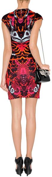 McQ Mirror Print Dress in Terracotta/Black
