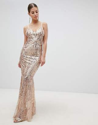 Club L London Fully Embellished Sequin Cami Strap Fishtail Maxi Dress