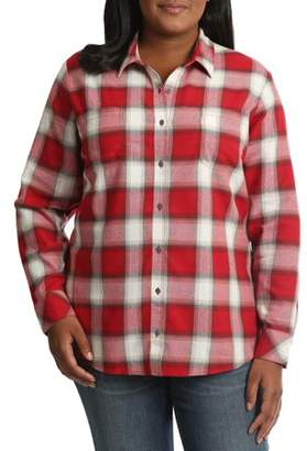 Lee Riders Women's Plus Long Sleeve Plaid Flannel Shirt