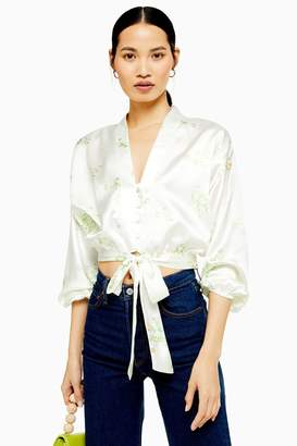 4de27513486f0d Topshop Womens Daisy Belted Plunge Blouse - Ivory