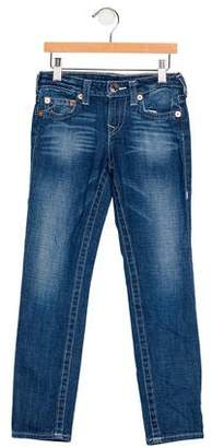 True Religion Girls' Five Pockets Straight-Leg Jeans