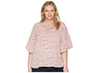 Bobeau B Collection by Plus Size Willa Lattice Tie Blouse Women's Blouse