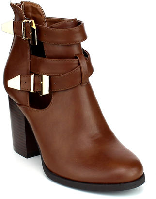 Cognac Double-Buckle Avenue Boot $49.99 thestylecure.com