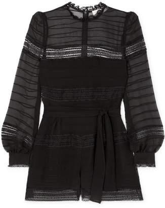 Zimmermann Fleeting Pintuck Lace-trimmed Silk Playsuit - Black