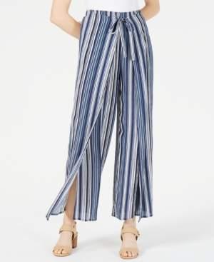 BCX Juniors' Printed Wrap-Front Wide-Leg Pants