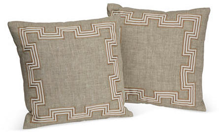 Dransfield and Ross Greek Key Pillows, Pair