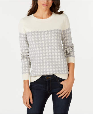 Charter Club Plaid Houndstooth Sweater