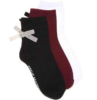 Steve Madden Back Bow Ankle Socks - 3 Pack - Women's