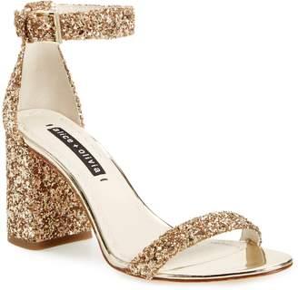 Alice + Olivia Lillian Glitter Ankle Strap Sandal