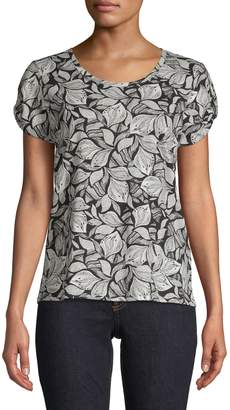 Lord & Taylor Sketch Floral Cotton Tee