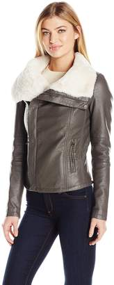 Members Only Women's Faux Leather Moto Jacket with Faux Fur Collar