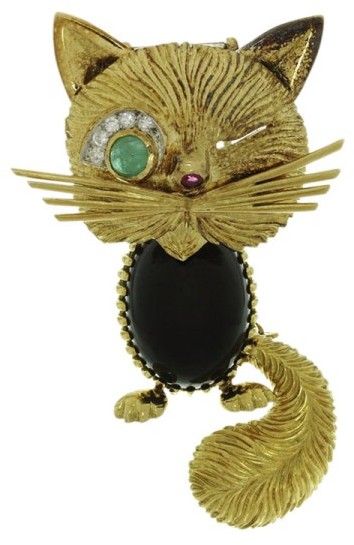 Van Cleef & ArpelsVan Cleef & Arpels 18K Yellow Gold Chat Malicieux Diamond Emerald Onyx Winking Cat Brooch