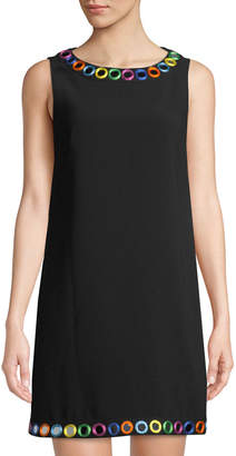 Moschino Mirror Trimmed Crepe Shift Dress