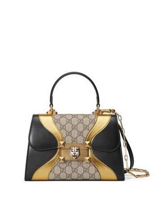 Gucci Osiride Small GG Supreme Top-Handle Bag with Golden Wave Detail