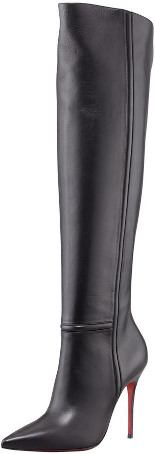 Christian Louboutin Armurabotta Thigh-High Pointy Red Sole Boot, Black