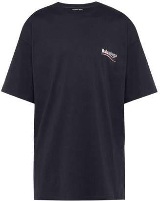Balenciaga Oversize Logo T Shirt - Mens - Navy