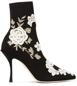 Dolce & Gabbana Appliquéd Stretch-knit Sock Boots - Black