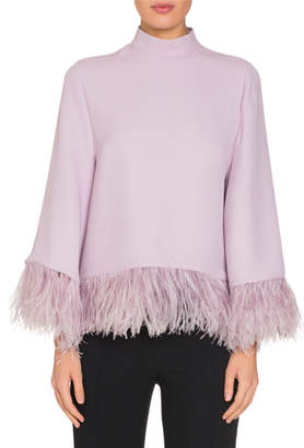 Andrew Gn Ostrich-Feather Trim Mock-Neck Blouse