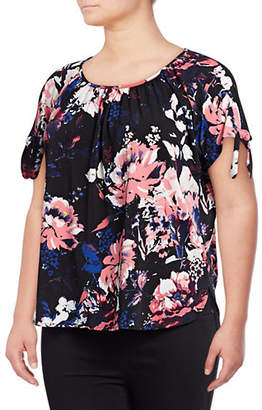 INC International Concepts Plus Floral Bow Shoulder Top