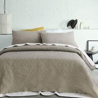 Accessorize Serah Quilted Coverlet Set, Linen Linen