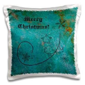 3dRose Merry Christmas, Elegant Aqua, Coral, Green, Snowflakes and Stars - Pillow Case, 16 by 16-inch