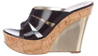 Casadei Patent Leather Wedge Sandals
