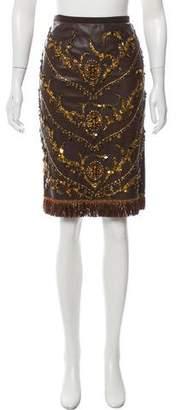 Dolce & Gabbana Bead & Agate Stone-Embellished Leather Skirt