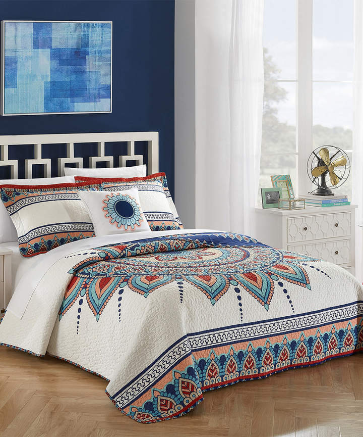 Blue & White Tolteca Four-Piece Reversible Quilt Set