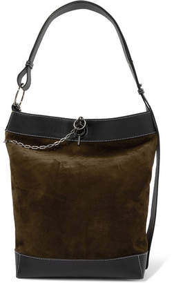 J.W.Anderson Lock Leather-trimmed Suede Tote - Dark green