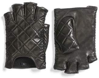 Rebecca Minkoff Quilted Goatskin Leather Fingerless Gloves