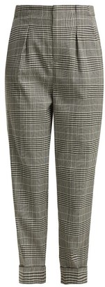 Roland Mouret Horley Checked Wool Blend Trousers - Womens - Black White