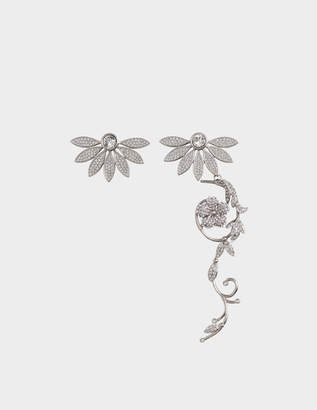 Burberry Asymetric Half-Daisy Drop Earrings in Crystal and Metal