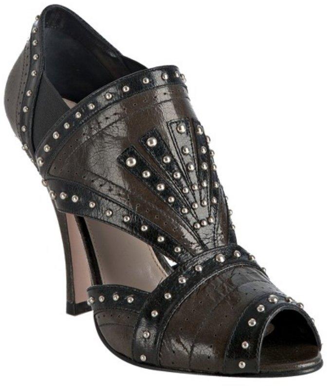 Prada clay studded leather peep toe pumps