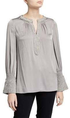 Kobi Halperin Tyra V-Neck Long-Sleeve Stretch Silk Blouse w/ Embroidery